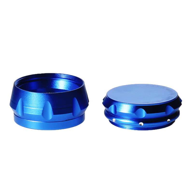 "2 1/2""  Chromium Crusher 4 piece Blue Grinder with Finger Grooves Design"