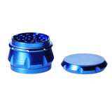 4pc Chromium Crusher Grinder With Finger Grooves Blue - 2 1/2""
