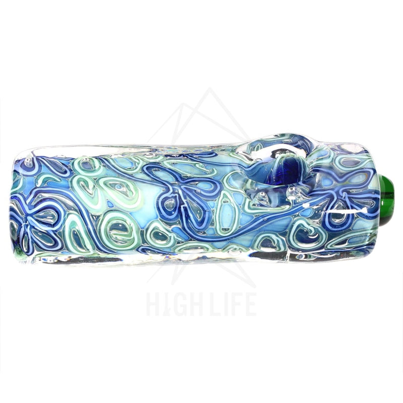 Heavy Rectangle Fumed Flower Design Hand Pipe Assorted Colors