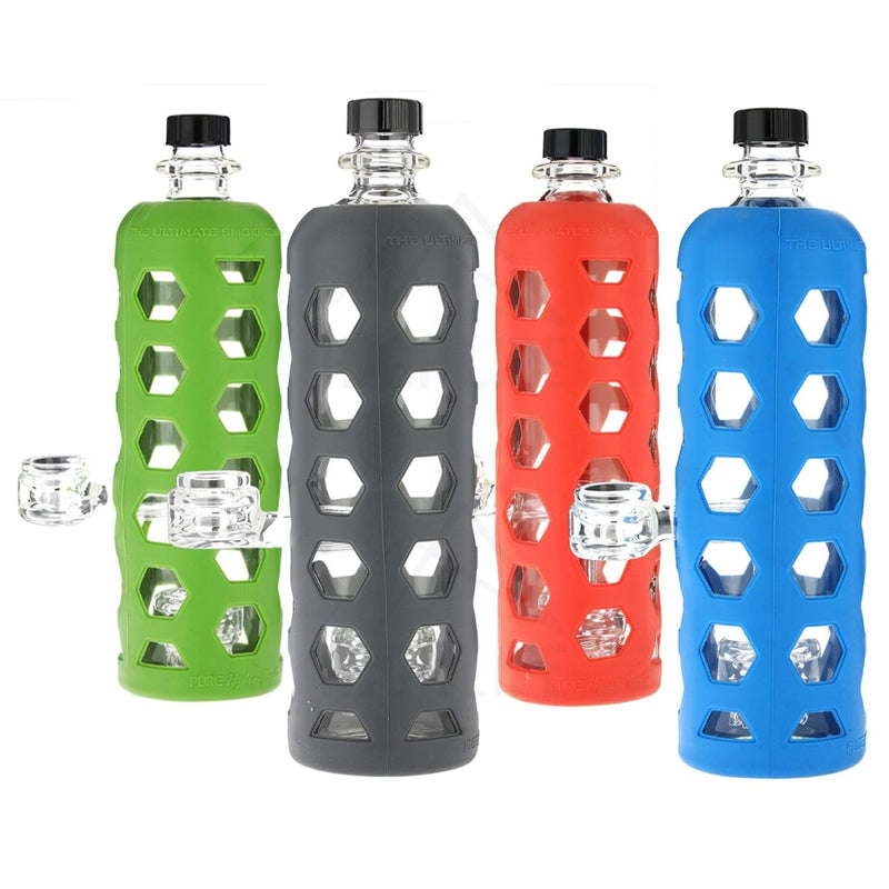Pure Glass 9 Clear Bottle Mini Jellyfish Perc With Silicone Sleeve
