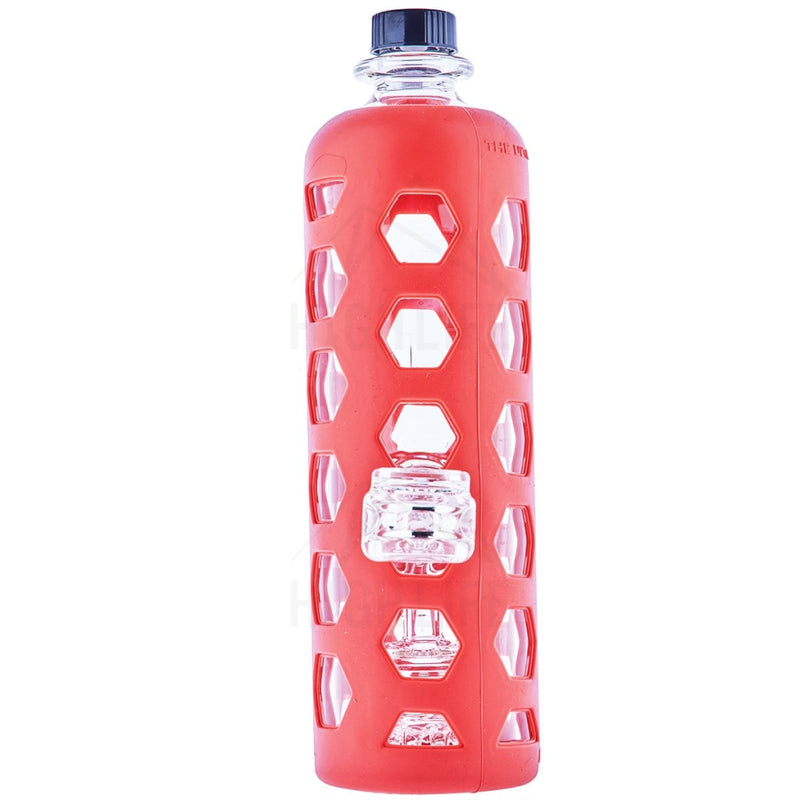 Pure Glass 9 Clear Bottle Mini Jellyfish Perc With Silicone Sleeve Red