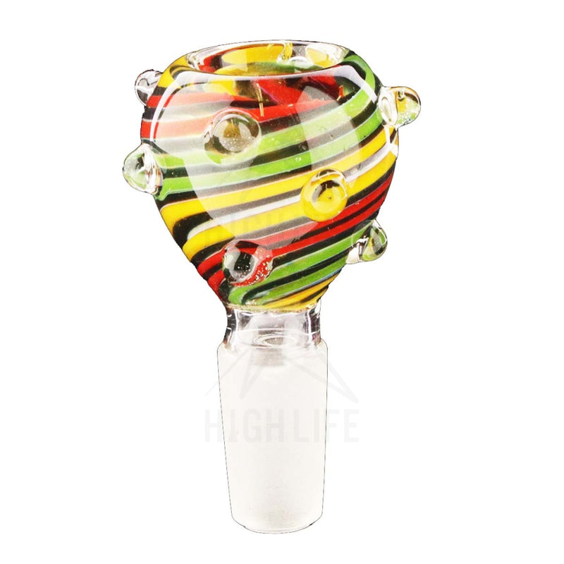 Slide G/g Bowl Multi-Colored Striated 14Mm Male