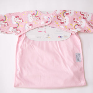 back view pink feeding bib with unicorn design