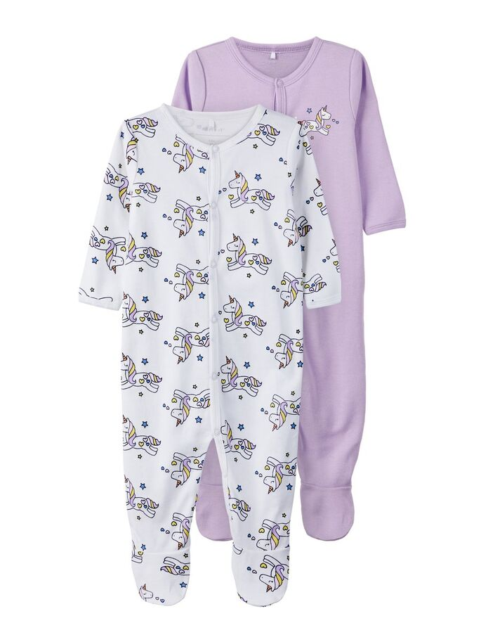 nightsuit  2 pack, lavender and unicorns