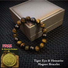 Load image into Gallery viewer, Tiger Eye & Hematite Magnet Bracelet With Saint Benedict Pendant