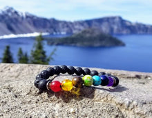 Load image into Gallery viewer, 7 Chakra Healing Lava Stone Bracelet