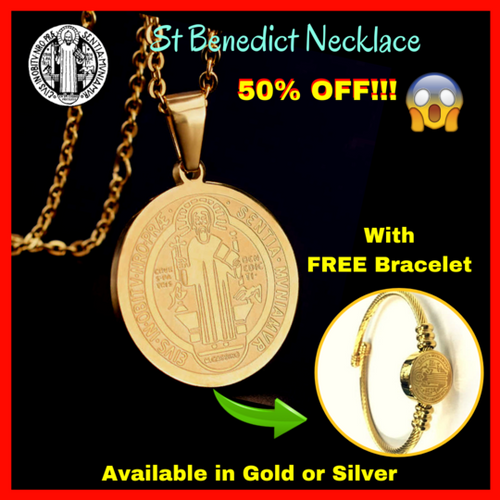Saint. Benedict Necklace - 50% OFF - with FREE Bracelet! (Available in Gold or Silver)