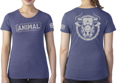 ANIMAL (Bull) Ladies T-Shirt - Vintage Royal