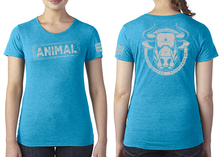 Load image into Gallery viewer, ANIMAL (Bull) Ladies T-Shirt - Vintage Turquoise