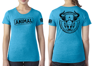 ANIMAL (Bull) Ladies T-Shirt - Vintage Turquoise