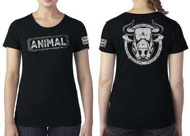 ANIMAL (Bull) Ladies T-Shirt - Vintage Black
