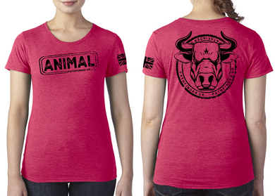 ANIMAL (Bull) Ladies T-Shirt - Vintage Red