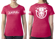 Load image into Gallery viewer, ANIMAL (Bull) Ladies T-Shirt - Vintage Red