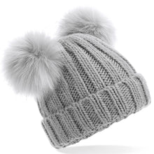 Load image into Gallery viewer, PFUK Faux Fur Double Pom Pom Beanie Hat