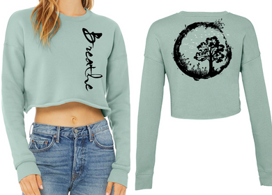 BREATHE Ladies Cropped Sweatshirt - Dusty Blue
