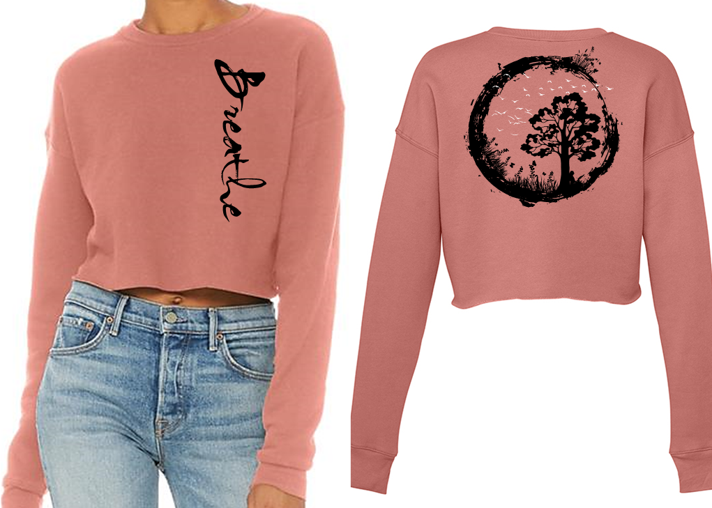 BREATHE Ladies Cropped Sweatshirt - Mauve