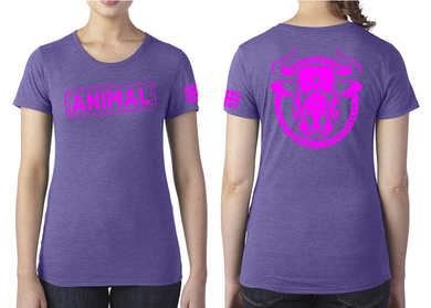 ANIMAL (Bull) Ladies T-Shirt - Purple Rush