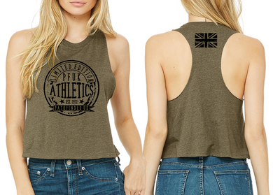 ATHLETE Ladies Cropped Racer Back - Heather Olive