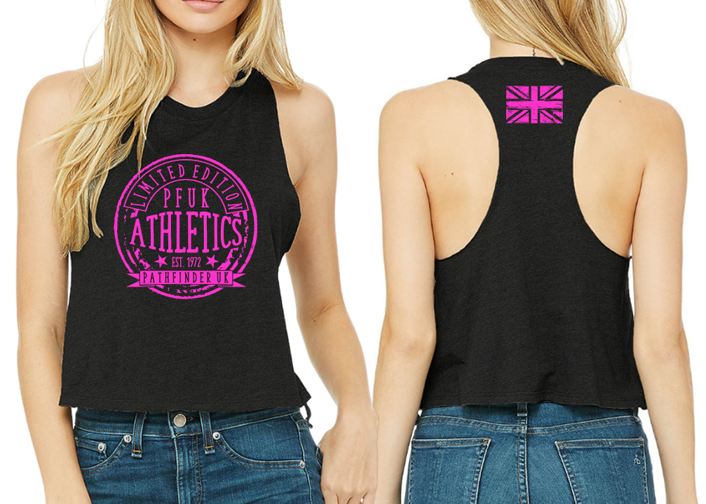 ATHLETE Ladies Cropped Racer Back - Black