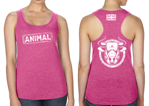 ANIMAL (Bull) Ladies Racer Back Vest - Hot Pink