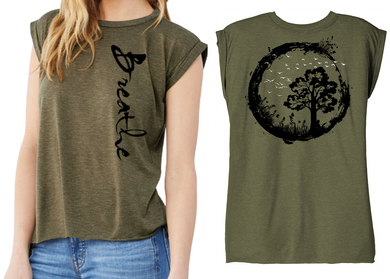 BREATHE Ladies Flow T-Shirt - Heather Olive