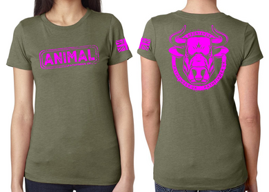 ANIMAL (Bull) Ladies T-Shirt - Military Green