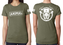 Load image into Gallery viewer, ANIMAL (Bull) Ladies T-Shirt - Military Green