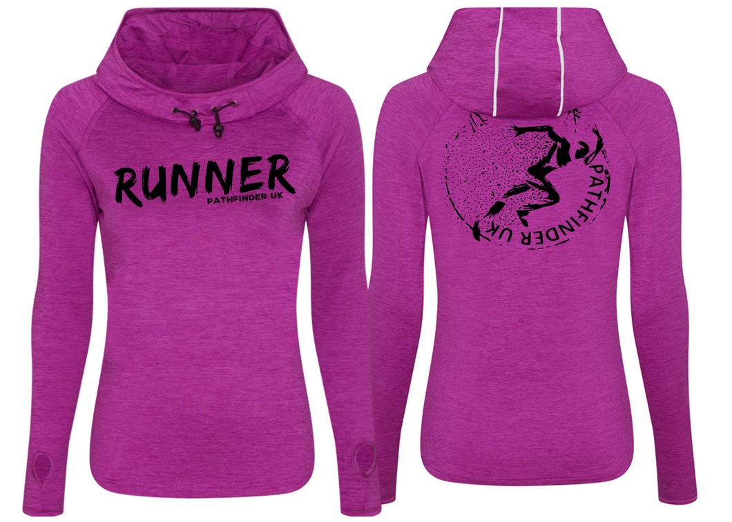 RUNNER Ladies Cowl Neck Top - Raspberry Melange
