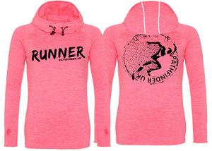 RUNNER Ladies Cowl Neck Top - Electric Pink Melange