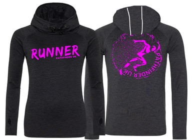 RUNNER Ladies Cowl Neck Top - Black Melange