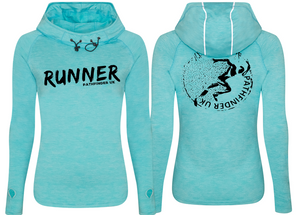 RUNNER Ladies Cowl Neck Top - Ocean Blue Melange