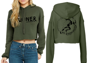 RUNNER Ladies Cropped Hoodie - Military Green