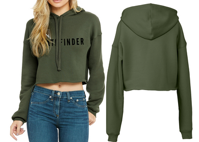 REST DAYS Ladies Cropped Hoodie - Military Green