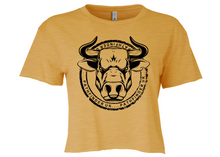 Load image into Gallery viewer, ANIMAL (Bull) Ladies Cropped T-Shirt - Antique Gold