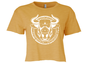 ANIMAL (Bull) Ladies Cropped T-Shirt - Antique Gold