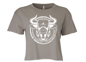 ANIMAL (Bull) Ladies Cropped T-Shirt - Ash