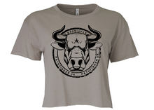 Load image into Gallery viewer, ANIMAL (Bull) Ladies Cropped T-Shirt - Ash