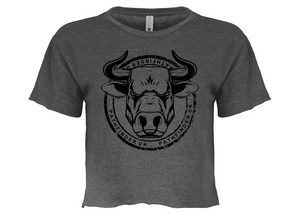 ANIMAL (Bull) Ladies Cropped T-Shirt - Charcoal