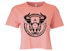ANIMAL (Bull) Ladies Cropped T-Shirt - Desert Pink