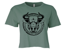 Load image into Gallery viewer, ANIMAL (Bull) Ladies Cropped T-Shirt - Royal Pine