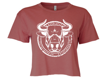 Load image into Gallery viewer, ANIMAL (Bull) Ladies Cropped T-Shirt - Smoked Paprika