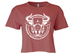 ANIMAL (Bull) Ladies Cropped T-Shirt - Smoked Paprika