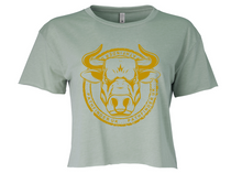 Load image into Gallery viewer, ANIMAL (Bull) Ladies Cropped T-Shirt - Stonewash Green