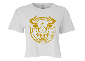 ANIMAL (Bull) Ladies Cropped T-Shirt - White