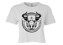 Load image into Gallery viewer, ANIMAL (Bull) Ladies Cropped T-Shirt - White