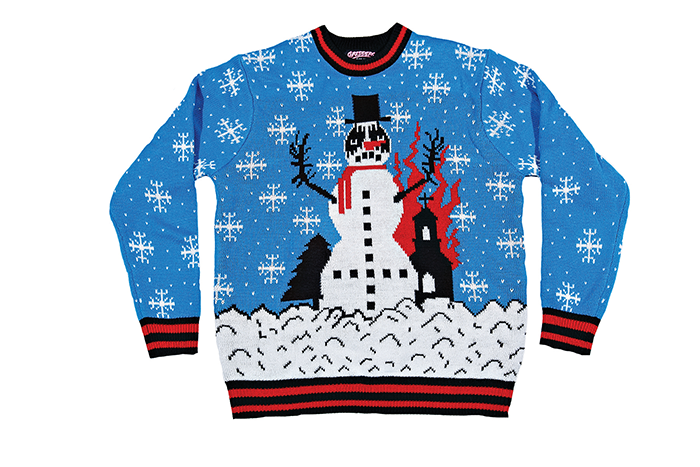 Black Metal Knit Upside Down Cross Church Burner Snowman Sweater