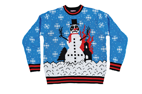 black metal snowman sweater