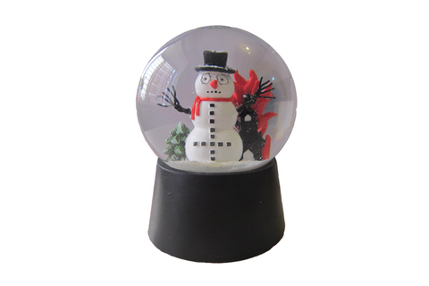 BLACK METAL SNOWMAN SNOW GLOBE