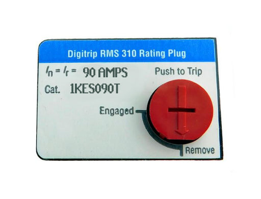 1KES090T Fixed Rating Plug, K-Frame Style, 90 Ampere Rating, Electronic Digitrip RMS 310, For Use in Trip Units with Interchangeable Rating Plugs. New Surplus and Certified Reconditioned with 1 Year Warranty.