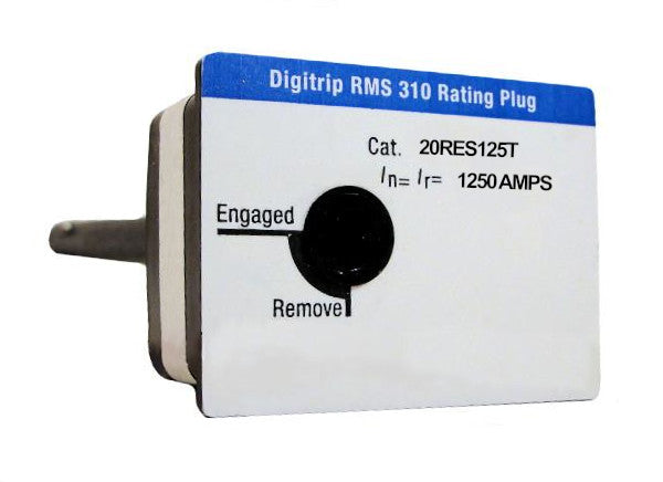 20RES125T Fixed Rating Plug, R-Frame Style, 1250 Ampere Rating, Electronic(Digitrip RMS 310), Max 2000 Amp Breaker Size, For Use in Trip Units with Changeable Rating Plugs. New Surplus and Certified Reconditioned with 1 Year Warranty.